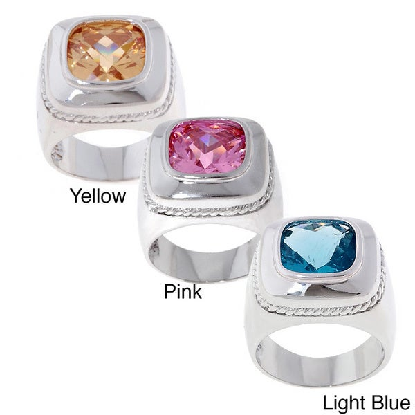 Icz Stonez Rhodium-plated  Sterling Silver Square CZ Ring