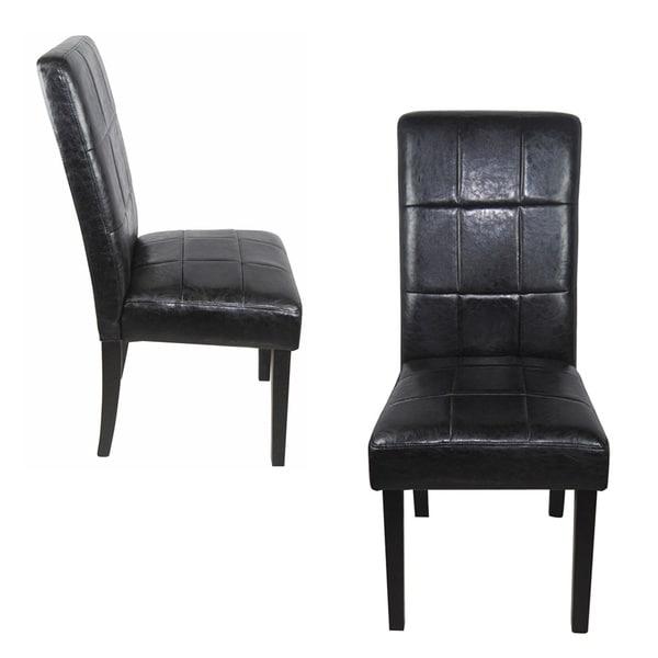 Shop Castillian Classic Black Faux Leather Parson Chairs