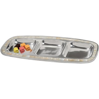 16-inch Mother of Pearl Aluminum Divided Serving Tray