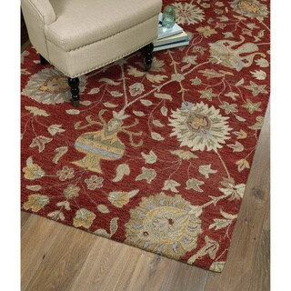 Christopher Kashan Hand-tufted Red Rug (4' x 6') - 4' x 6'