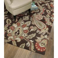 Christopher Kashan Hand-tufted Chocolate Paisley Rug (10' x 14') - 10' x 14'