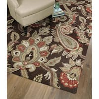 Christopher Kashan Hand-tufted Chocolate Paisley Rug - 8' x 10'