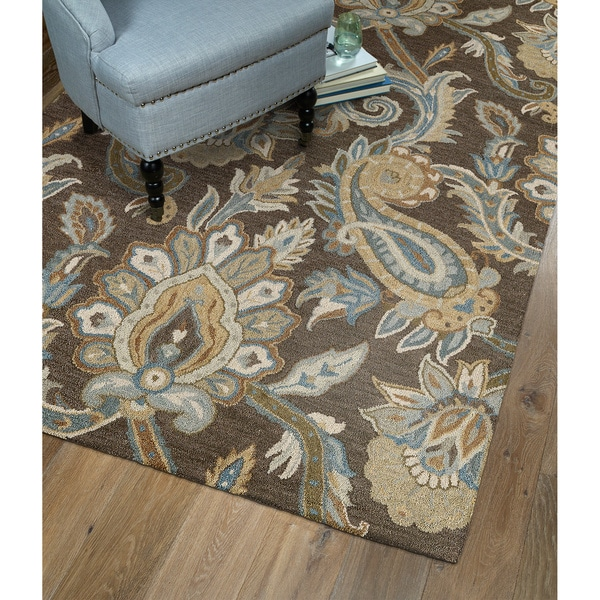 Christopher Kashan Hand-tufted Light Brown Paisley Rug (10' x 14') - 10' x 14'