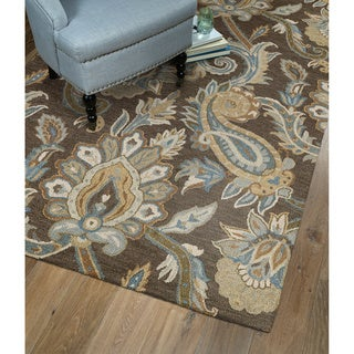 Christopher Kashan Hand-tufted Light Brown Paisley Rug (5' x 7'9)