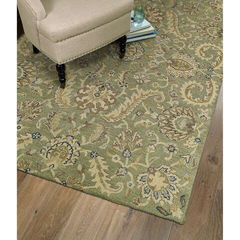Christopher Kashan Hand-tufted Green Rug - 5' x 7'9""