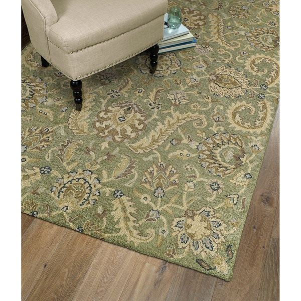 Christopher Kashan Hand-tufted Green Rug (4' x 6') - 4' x 6'