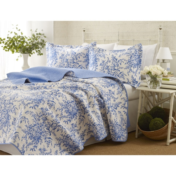 Perfect Laura Ashley 3-piece Bedford Blue Reversible Quilt Set - On Sale  CJ71