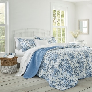 Link to Laura Ashley 3-piece Bedford Blue Reversible Quilt Set Similar Items in Quilts & Coverlets