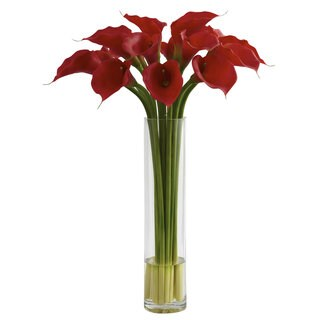 Nearly Natural Red Calla Lily Large Cylinder Vase Decorative Plant