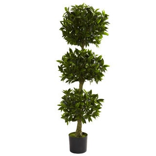 Nearly Natural 5-foot Triple Bay Topiary UV-resistant Indoor/ Outdoor Decorative Plant - Green