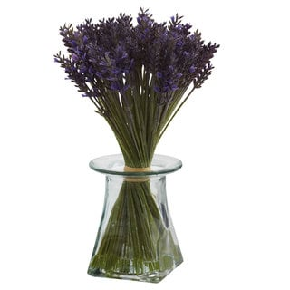 Nearly Natural Lavender Bundle Vase Decorative Plant