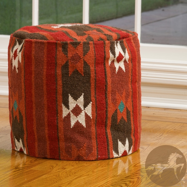 Cherokee Red-Multi Wool Pouf Ottoman. by Christopher Knight Home