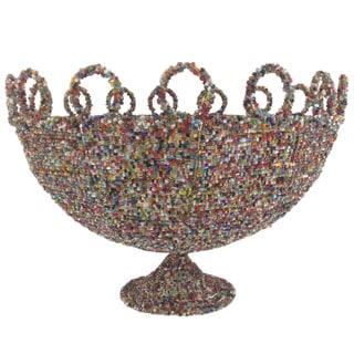 Round Multicolor Beaded Decorative Basket