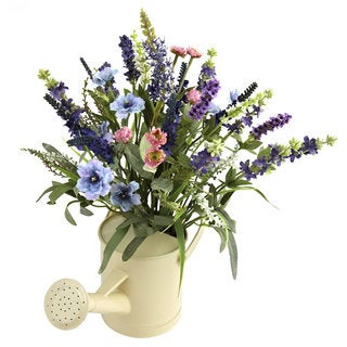 Nearly Natural Lavender Arrangement and Watering Can Decorative Plant