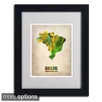 Naxart 'Brazil Watercolor Map' Framed Matted Art