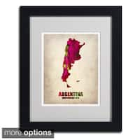 Naxart 'Argentina Watercolor Map' Framed Matted Art