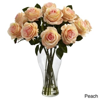 Nearly Natural Blooming Roses in Vase