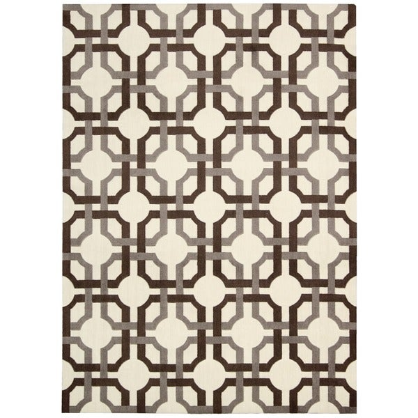 Waverly Artisanal Delight Groovy Grille Tobacco Area Rug by Nourison - 5' x 7'