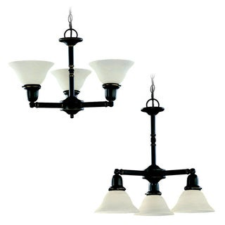 Sussex 3-light Satin Etched Glass Decorative Chandelier