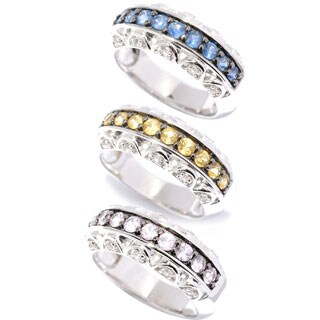 Sterling Silver Blue, Yellow or Pink Sapphire and White Topaz Band