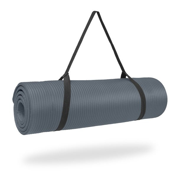 Pure Fitness 12mm High Density Exercise Mat - Charcoal - Grey/Green