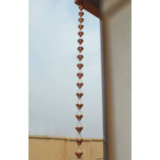 Monarch Pure Copper Zinnia Rain Chain 8.5 Ft Inclusive of Installation Hanger