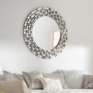 Palmer Frosted Tile Silver Finish Round Accent Wall Mirror by INSPIRE Q