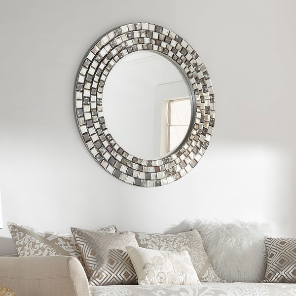 Palmer Frosted Tile Silver Finish Round Accent Wall Mirror by iNSPIRE Q Bold - Grey/Silver