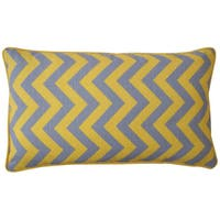 Jiti Yellow 12 x 20-inch Zig Zag Decorative Pillow