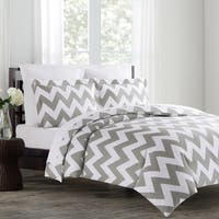 Echelon Home Chevron 3-piece Cotton Duvet Cover Set