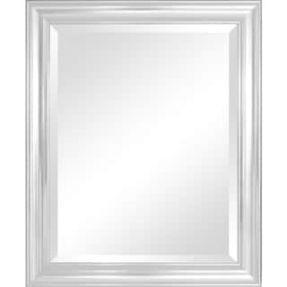 Crackled Silver 28 x 34-inch Framed Mirror with Bevel
