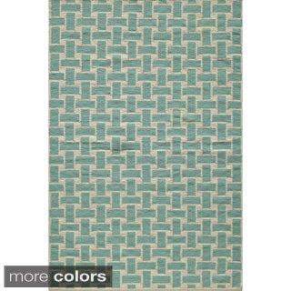 Mersa Bricks Aqua Flat Weave Reversible Wool Dhurrie Rug (8' x 10')