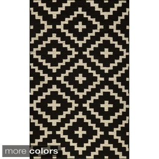 Mersa Diamonds Black Flat Weave Reversible Wool Dhurrie Rug (3'6 x 5'6)
