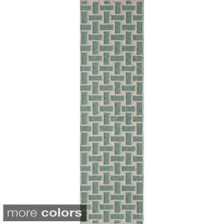 """Mersa Bricks Aqua Flat Weave Reversible Wool Dhurrie Rug (2'3"""" x 8')"""