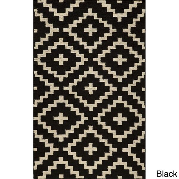 Mersa Diamonds Black Flat Weave Reversible Wool Dhurrie Rug (8' x 10')