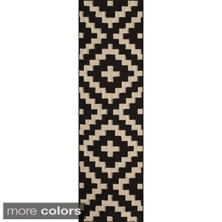 "Mersa Diamonds Black Flat Weave Reversible Wool Dhurrie Rug (2'3"" x 8')"