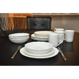 Red Vanilla Marble Round 16 Pc Dinner Set Service for 4