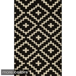 Mersa Diamonds Black Flat Weave Reversible Wool Dhurrie Rug (5' x 8')