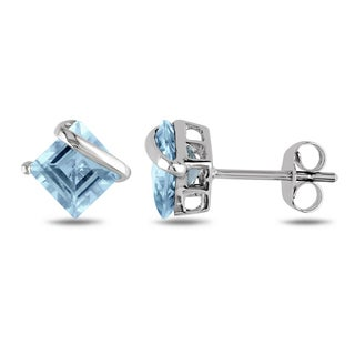 Miadora 10k White Gold Blue Topaz Stud Earrings