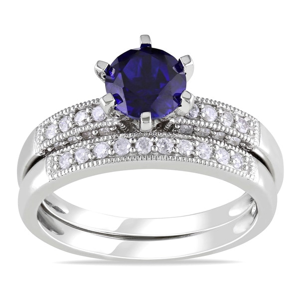 Miadora 10k Gold Created Sapphire and 1/3ct TDW Diamond Bridal Ring Set (H-I, I2-I3)