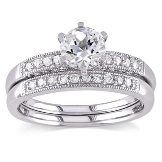 Miadora Created White Sapphire and 1/3ct TDW Diamond Bridal Set in 10k White Gold (G-H,I2-I3)