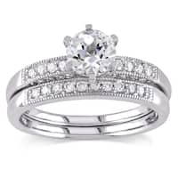 Miadora Created White Sapphire and 1/3ct TDW Diamond Bridal Set in 10k White Gold (G-H,I2-I3)