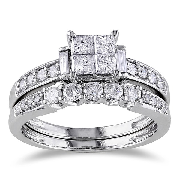 14k White Gold Certified 1ct TDW Diamond Bridal Ring Set by Miadora Signature