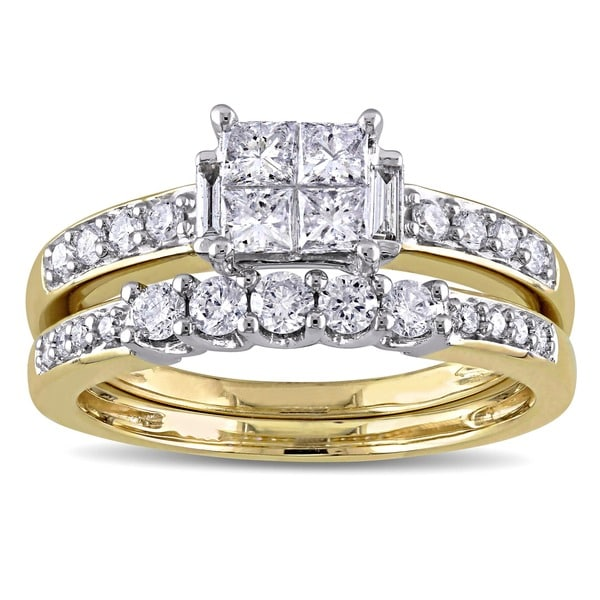 Miadora Signature Collection 14k Yellow Gold 1ct TDW Princess-cut, Round and Parallel Baguette Diamo