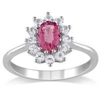 Miadora Sterling Silver Pink Tourmaline and Created White Sapphire Ring