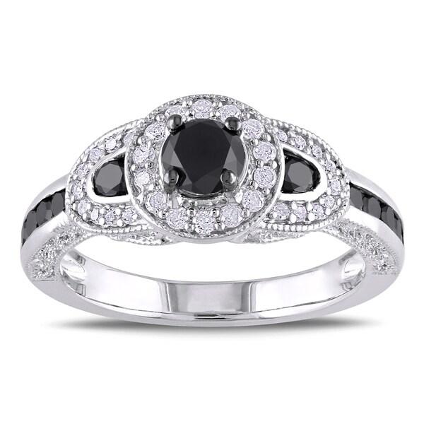 Miadora Sterling Silver 3/4ct TDW Black and White Diamond Miligrain-detailed Ring (H-I, I2-I3)