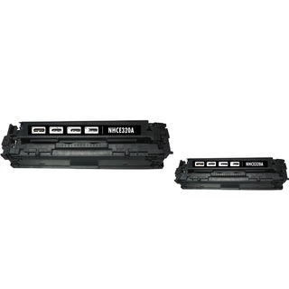 INSTEN Black Toner Cartridge for HP CE320A (Pack of 2)