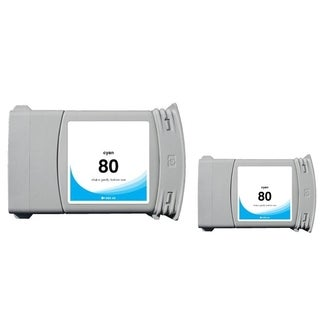INSTEN Cyan Ink Cartridge for HP 80 (Remanufactured) (Pack of 2)