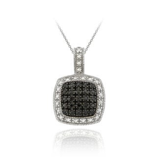 DB Designs Rhodium-plated Black Diamond-accent Square Necklace