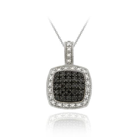 DB Designs Rhodium-plated Black Diamond-accent Square Necklace